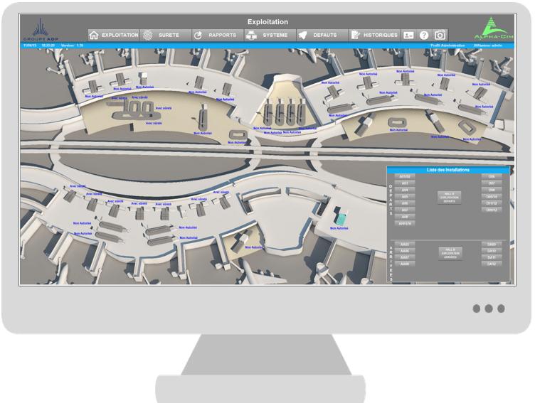 Ecran d'ordinateur affichant un schéma d'aérogare