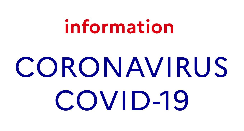 """Affiche actualité sur laquelle est écrit information en rouge et en-dessous, en bleu et en majuscule """"CORONAVIRUS COVID-19"""""""