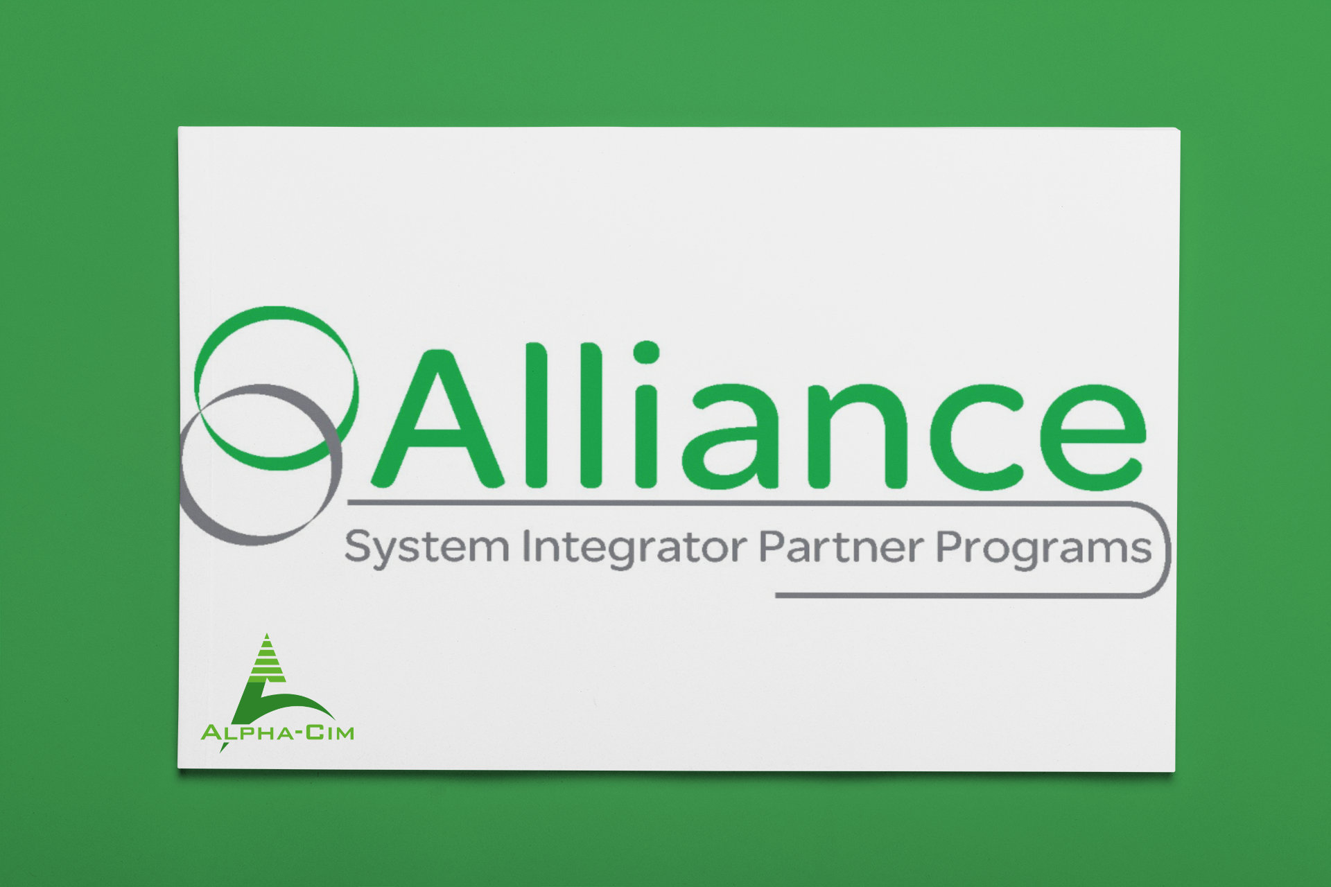 Image sur fond vert avec le logo Alliance de Schneider Electric et le logo ALPHA-CIM